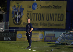 Sutton United manager Matt Gray during the Sky Bet League Two match at Borough Sports Ground, Sutton. Picture date: Saturday October 9, 2021.