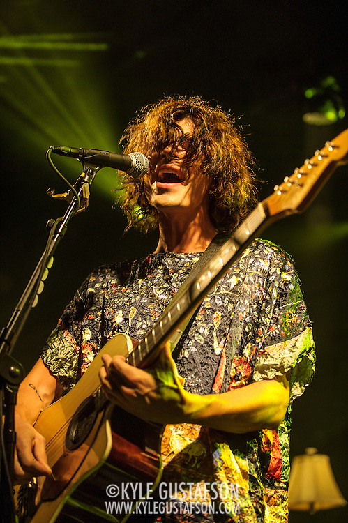 """WASHINGTON, DC - October 10th, 2013 - Christian Zucconi of Grouplove performs at The Hamilton in Washington, D.C. The band's 2011 hit """"Tongue Tied"""" sold over 1 million copies, was featured in an iPod Touch commercial and was covered on the TV show Glee. (Photo by Kyle Gustafson / For The Washington Post)"""
