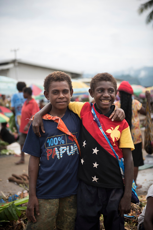 Boys at the market in Vanimo, West Sepik Province, Papua New Guinea. (July 18, 2017)