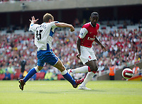 Photo: Chris Ratcliffe.<br />Arsenal v Middlesbrough. The Barclays Premiership. 09/09/2006.<br />James Morrison of Middlesbrough scores the first Middlesbrough goal. Johan Djourou is the Arsenal player watching on.