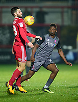 Lincoln City's Bernard Mensah vies for possession with Accrington Stanley's Seamus Conneely<br /> <br /> Photographer Andrew Vaughan/CameraSport<br /> <br /> The EFL Checkatrade Trophy Second Round - Accrington Stanley v Lincoln City - Crown Ground - Accrington<br />  <br /> World Copyright © 2018 CameraSport. All rights reserved. 43 Linden Ave. Countesthorpe. Leicester. England. LE8 5PG - Tel: +44 (0) 116 277 4147 - admin@camerasport.com - www.camerasport.com