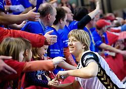 Marina Vergeliuk of Krim with fans of Krim at handball match of Round 5 of Champions League between RK Krim Mercator and Metz Handball, France, on January 9, 2010 in Kodeljevo, Ljubljana, Slovenia. (Photo by Vid Ponikvar / Sportida)