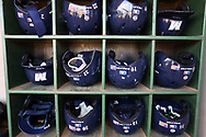 CARY, NC - FEBRUARY 23: Monmouth batting helmets. The Monmouth University Hawks played the Saint John's University Red Storm on February 23, 2018 on Field 2 at the USA Baseball National Training Complex in Cary, NC in a Division I College Baseball game. St John's won the game 3-0.