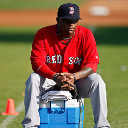 February 18, 2011; Fort Myers, FL, USA; Boston Red Sox invitee pitcher Jason Rice waits for the start of practice during spring training at the Player Development Complex.  Mandatory Credit: Derick E. Hingle