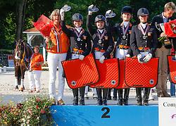 Junior Team Holland Silver medal <br /> Chef d'equipe Tinneke Bartels, Jeanine Nekeman, Jeanine Nieuwenhuis, Jasmien De Koeyer, Dana Van Lierop<br /> European Championship Dressage Juniors<br /> Compiegne 2013<br /> © Dirk Caremans