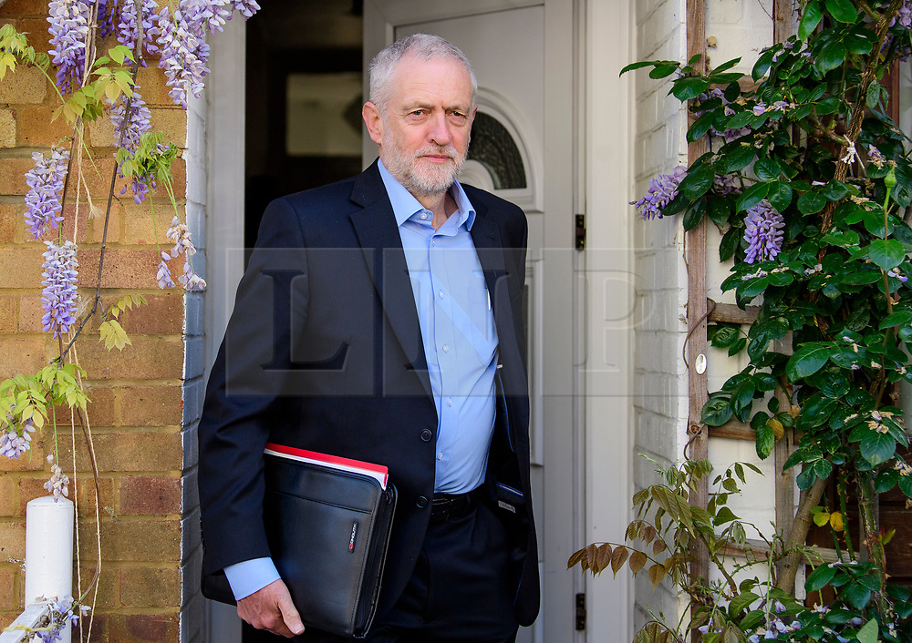© Licensed to London News Pictures. 05/05/2017. London, UK. Labour Party leader JEREMY CORBYN seen leaving his London home on the morning of local and mayoral election results. Local election results are believed to be a possible indicator of how Labour might perform at the general election on June 8. Photo credit: Ben Cawthra/LNP