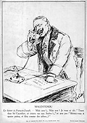 World War I 1914-1918. 'Misunderstanding', cartoon of Wilhelm II, German Emperor, shouting down the telephone at  Franz-Joseph the Austrian Emperor for not doing what he has been  told. From  'Le Pays de France', 7 January 1915.