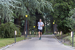 """Spanish Prime Minister, Pedro Sanchez, before starting an important week of work, gets ready with a morning run and, after greeting his female dog """"Turca"""", he meets with his team and with the vice president and minister of the Presidency of Relations with the Courts and Equality, Carmen Calvo, to prepare his agenda, Madrid; Spain on June 18, 2018. Photo by Almagro/ABACAPRESS.COM"""