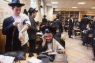 France. Brunoy 94. Lubavitch jews.  morning prayer in , the yechiva Tom'hei Temimim , religious school of Brunoy.
