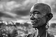 An old Samburu women with beaded jewelry, black and white,Samburu, Kenya, Africa