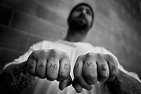 Parolee Blaine Clayton of Sacramento Ca., at the drug treatment program for parolees in Folsom Ca.
