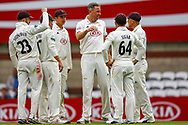 Wicket Rikki Clarke of Surrey celebrates bowling out William Rhodes of Warwickshire caught by Ben Foakes of Surrey during the Specsavers County Champ Div 1 match between Surrey County Cricket Club and Warwickshire County Cricket Club at the Kia Oval, Kennington, United Kingdom on 23 June 2019.