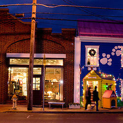 Frederick, Maryland - Alongside the Emporium Antique store in downtown Frederick, the dog specialty store reveals the dog friendly nature of the community.  Photo by Susana Raab