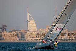 Artemis Racing (SWE) beats Emirates Team New Zealand (NZL), RR1. Dubai, United Arab Emirates, November 16th 2010. Louis Vuitton Trophy  Dubai (12 - 27 November 2010)  Sander van der Borch / Artemis Racing