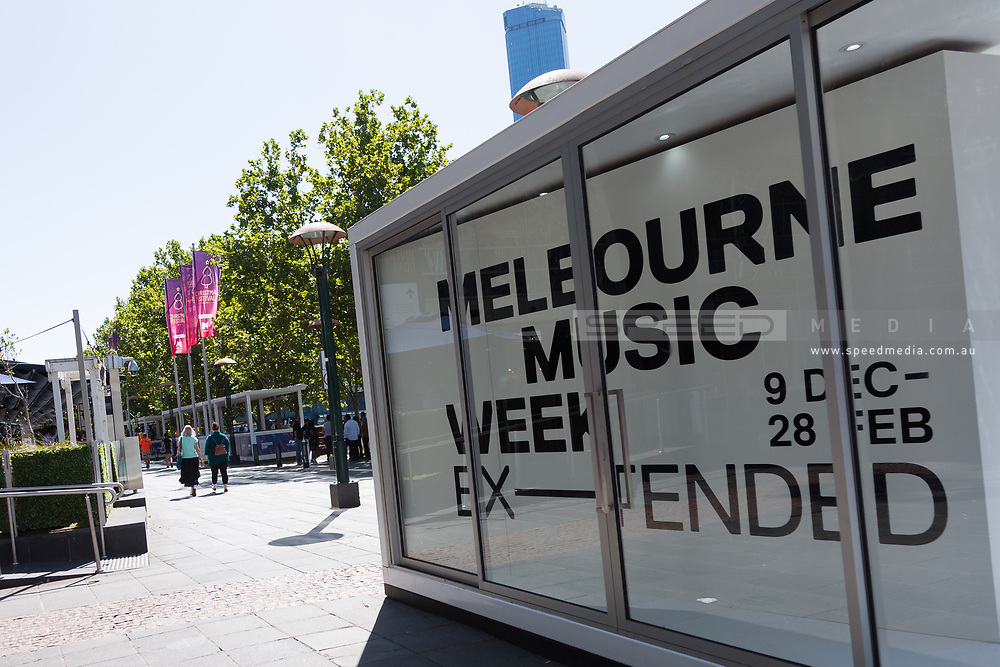 A Melbourne Music Week advertisement is seen as festivals return to Melbourne during the 35th day of zero COVID-19 cases in Victoria, Australia. School and community sport is ramping up and as the weather improves, more people are venturing out and about to enjoy this great city. Pressure is mounting on Premier Daniel Andrews to keep his promise of removing all remaining restrictions. (Photo by Dave Hewison/Speed Media)