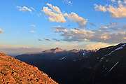 USA, Colorado, Rocky Mountain National Park, Long's Peak from Forest Canyon Overlook.