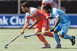 (L-R) Valentin Verga of The Netherlands, Manpreet Singh of India during the Champions Trophy match between the Netherlands and India on the fields of BH&BC Breda on June 30, 2018 in Breda, the Netherlands