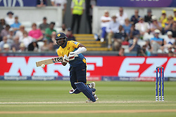 July 1, 2019 - Chester Le Street, County Durham, United Kingdom - Sri Lanka's Avishka Fernando clips the ball into the leg side for two to bring up his maiden ODI hundred during the ICC Cricket World Cup 2019 match between Sri Lanka and West Indies at Emirates Riverside, Chester le Street on Monday 1st July 2019. (Credit Image: © Mi News/NurPhoto via ZUMA Press)