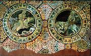 Richard I, Coeur de Lion or Lionheart (1157-1199),left,king of England from 1189, and Saladin, Sal al-Din al-Ayyubu, (1137-1193) in combat during Crusade of 1191, Third Crusade. Encaustic tiles, 1250-1260, Chertsey Abbey, Surrey.
