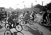 Rush Hour bicycle traffic in city and shadows
