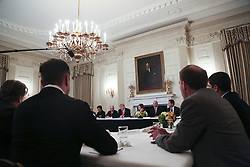 Washington, DC - February 3, 2017; U.S. President Donald holds a strategy and policy forum in the State Dining Room of the White House.