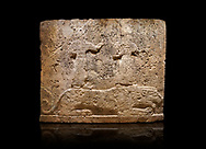 Hittite relief sculpted orthostat stone panel of Long Wall Limestone, Karkamıs, (Kargamıs), Carchemish (Karkemish), 900-700 B.C. Anatolian Civilisations Museum, Ankara, Turkey<br /> <br /> Two figures lying over the lion. There is a crescent at the head of the winged god at the front. It is thought that the figure at the front is moon god and the one at the rear is sun god. <br /> <br /> On a black background. .<br />  <br /> If you prefer to buy from our ALAMY STOCK LIBRARY page at https://www.alamy.com/portfolio/paul-williams-funkystock/hittite-art-antiquities.html  - Type  Karkamıs in LOWER SEARCH WITHIN GALLERY box. Refine search by adding background colour, place, museum etc.<br /> <br /> Visit our HITTITE PHOTO COLLECTIONS for more photos to download or buy as wall art prints https://funkystock.photoshelter.com/gallery-collection/The-Hittites-Art-Artefacts-Antiquities-Historic-Sites-Pictures-Images-of/C0000NUBSMhSc3Oo