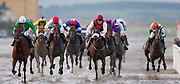 """Laytown Races 7th Sept 2010.G.M. Lyons trained """"Dunne Grand"""" with A.T.Duff in the saddle (extreme left) goes on to win the Hibernia Steel race at Laytown (6th Race).Photo: David Mullen /www.cyberimages.net"""