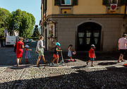Bergamo: the  upper town is almost, usually packed with tourists from all around the world is almost empty. Piazza della Cittadella
