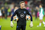England goalkeeper Nick Pope warms up during the UEFA European 2020 Qualifier match between Kosovo and England at the Fadil Vokrri Stadium, Pristina, Kosovo on 17 November 2019.