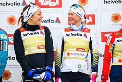 February 24, 2019 - Seefeld In Tirol, AUSTRIA - 190224 Stina Nilsson and Maja Dahlqvist of Sweden celebrates at the podium after in women's team sprint final during the FIS Nordic World Ski Championships on February 24, 2019 in Seefeld in Tirol..Photo: Joel Marklund / BILDBYRN / kod JM / 87888 (Credit Image: © Joel Marklund/Bildbyran via ZUMA Press)
