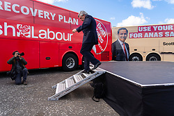 Glasgow, Scotland, UK. 5 May 2021. Scottish Labour Leader Anas Sarwar and former Prime Minister Gordon Brown appear at an eve of polls drive-in campaign rally in Glasgow today. Gordon Brown leaves the stage after his speech.  Iain Masterton/Alamy Live News