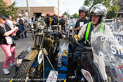 Gary Haynes arrives with his sidecar pickup bike with Ciro Nisi of Italy and his 1924 Moto Guzzi Sport at Check-in at the finish before the Hosted Dinner stop on Spanish Street in Cape Girardeau, Missouri during Stage 5 of the Motorcycle Cannonball Cross-Country Endurance Run, which on this day ran from Clarksville, TN to Cape Girardeau, MO., USA. Tuesday, September 9, 2014.  Photography ©2014 Michael Lichter.