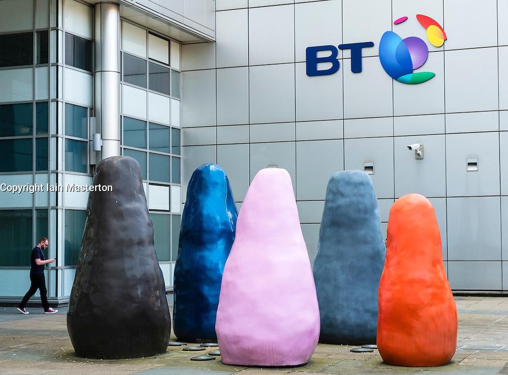 Modern street art outside BT office building at Broomielaw in Glasgow United Kingdom