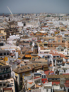 A view of Seville, Spain from atop La Giralda, the famous bell tower that accompanies the cathedral. The Alamillo Bridge -- designed by Santiago Calatrava -- can be seen in the distance.