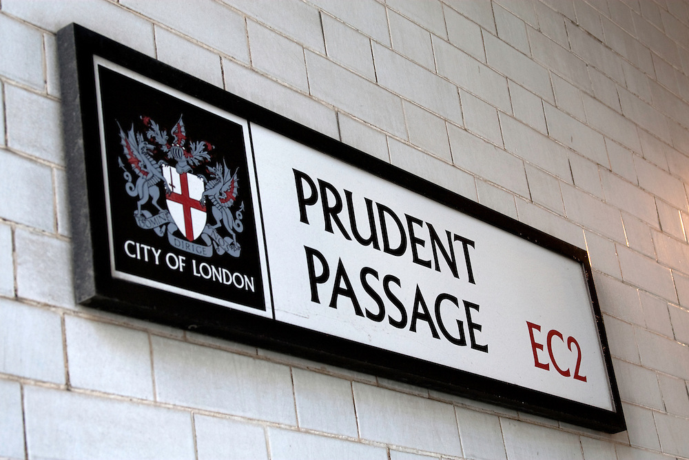 Street sign for Prudent Passage, City of London