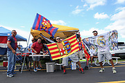 Fans have barbecues before the International Champions Cup match between Real Madrid and FC Barcelona at the Hard Rock Stadium, Miami on 29 July 2017.