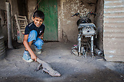 2014/11/22 – Quimili, Argentina: Lautero Carrizo (8), plays with an iguana in the backyard of his house at allotment number 5 of the Guaycurú Indigenous Community. People in the region considers iguanas a tidbit, which make them widely appreciated. (Eduardo Leal)