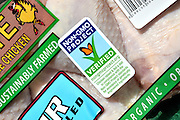 Rosie Free Range Chicken USDA organic drumsticks are packaged with a Non GMO label, which indicates Non GMO verification.  The label states that the sustainably farmed poultry is a product of the USA and is distributed by Coleman Natural Foods LLC of Golden, Colorado, USA.