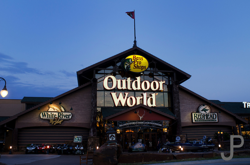 Outdoor World Bass Pro Shop at sunset in the Bricktown area of Oklahoma City.