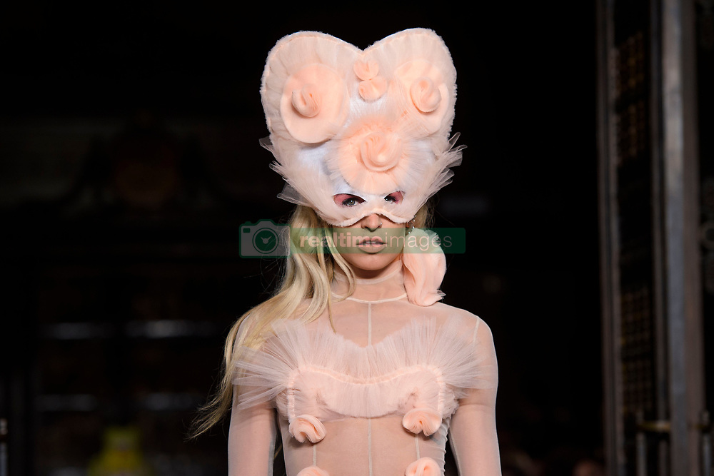 Mary Charteris on the catwalk during the Pam Hogg London Fashion Week SS18 show held at Freemason's Hall, London. Picture date: Friday September 16th, 2017. Photo credit should read: Matt Crossick/ EMPICS Entertainment.