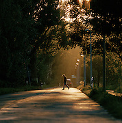 A local man crossing the road in Middelhagen, a town on the island of Rugen, north Germany