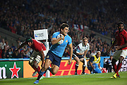 Giovanbattista Venditti (Italy's winger) getting past the French defence to score Italy's first try of the rugby world cup during the Rugby World Cup Pool D match between France and Italy at Twickenham, Richmond, United Kingdom on 19 September 2015. Photo by Matthew Redman.