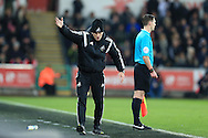 Swansea city head coach Francesco Guidolin  shows his frustration.Barclays Premier league match, Swansea city v Aston Villa at the Liberty Stadium in Swansea, South Wales on Saturday 19th March 2016.<br /> pic by  Andrew Orchard, Andrew Orchard sports photography.
