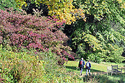 07/10/2010. People enjoy the autumn colour starts to appear at Kew Gardens in West London. Temperatures across the country are expected to rise this weekend.