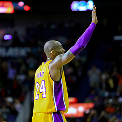 Apr 8, 2016; New Orleans, LA, USA; Los Angeles Lakers forward Kobe Bryant (24) waves to fan during the first quarter of his final appearance against the New Orleans Pelicans in a game at the Smoothie King Center. Mandatory Credit: Derick E. Hingle-USA TODAY Sports