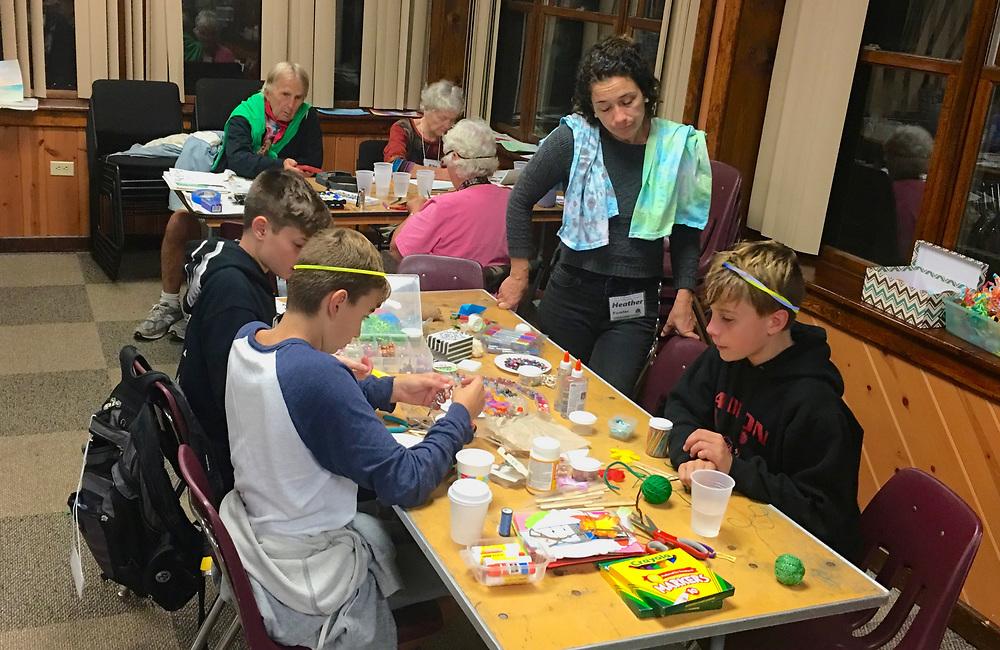 Teens work on art projects at Tri-Quarter Quaker Retreat, Medford, NJ