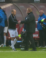 Hamilton's manager Alex Neil and Falkirk's manager Gary Holt  at the end.<br /> Hamilton 2 v 0 Falkirk, Scottish Championship played today at New Douglas Park.<br /> ©Michael Schofield.