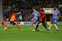 Football - 2017 / 2018 EFL (League) Cup - Third Round : AFC Bournemouth vs. Brighton and Hove Albion<br /> <br /> Bournemouth's Joshua King slots the ball past Tim Krul of Brighton to score at the Vitality Stadium (Dean Court) Bournemouth<br /> <br /> COLORSPORT/SHAUN BOGGUST