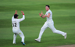 Craig Overton and Roelof Van De Merwe of Somerset celebrate the wicket of Samit Patel.  - Mandatory by-line: Alex Davidson/JMP - 22/09/2016 - CRICKET - Cooper Associates County Ground - Taunton, United Kingdom - Somerset v Nottinghamshire - Specsavers County Championship Division One