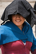 Indian woman<br /> Calpi animal market<br /> Parish of Riobamba, Chimborazo Province<br /> Andes<br /> ECUADOR, South America